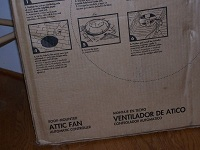 Back of attic fan box